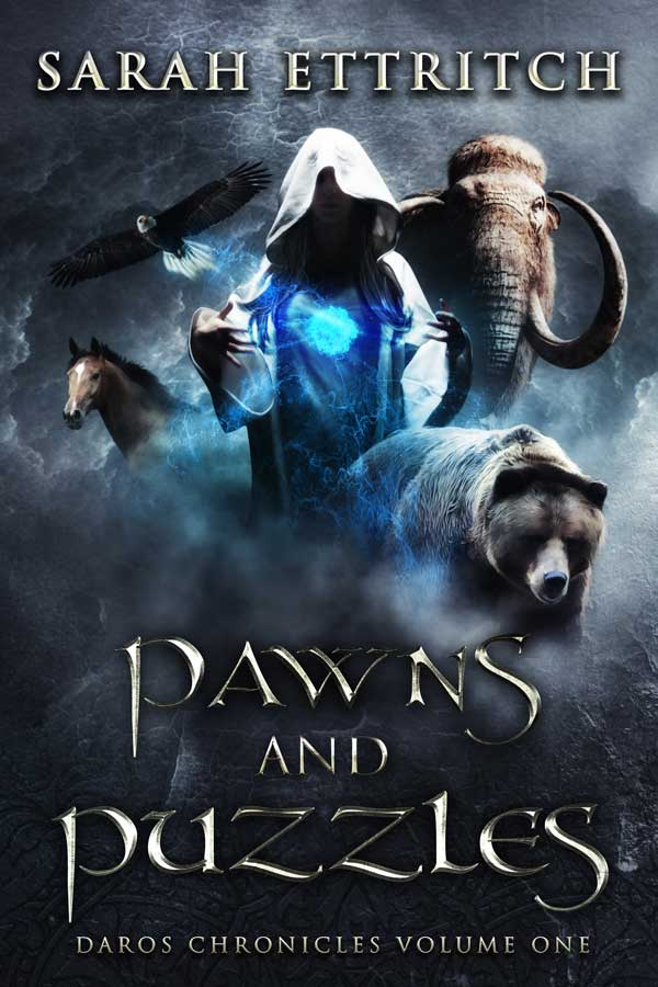 The cover for Pawns and Puzzles, the first book in the Daros Chronicles, which is an epic fantasy series