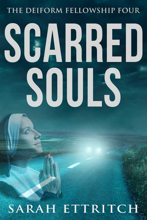 The cover for Scarred Souls, the fourth book in the Deiform Fellowship series, a lesbian mystery series.