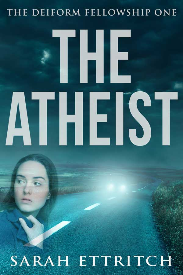 The cover for The Atheist, the first book in the Deiform Fellowship Series, which is a lesbian mystery series.