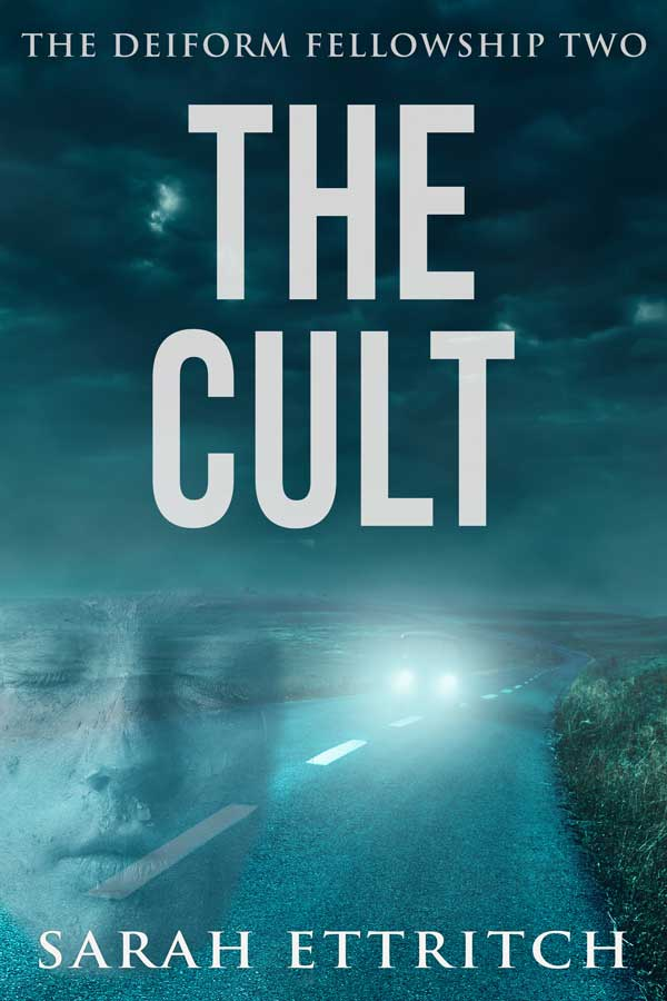 The cover for The Cult, the second book in the Deiform Fellowship series, a lesbian mystery series.
