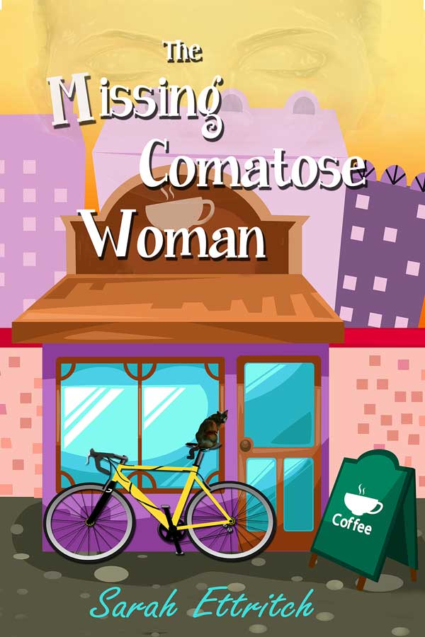 The cover for The Missing Comatose Woman, which is a lesbian cozy mystery novel.