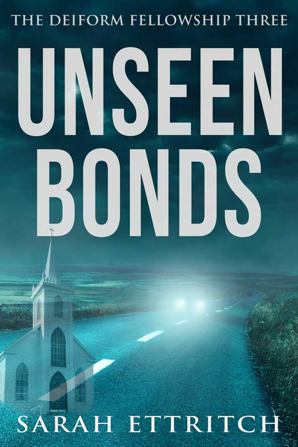 The cover for Unseen Bonds, the third book in the Deiform Fellowship Series, which is a lesbian mystery series.